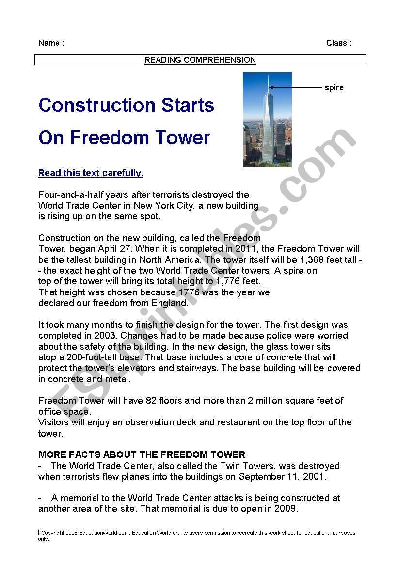9 11 Reading Comprehension Worksheets Reading after 9 11 the Freedom tower In New York Text