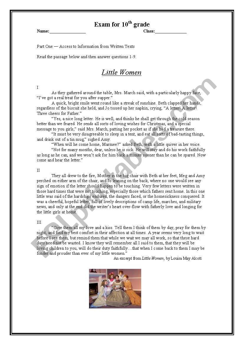 9th Grade Reading Comprehension Worksheet Little Women Reading Prehension Esl Worksheet by