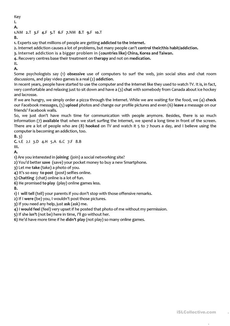 9th Grade Reading Comprehension Worksheet the Internet Test 9th Grade A2 B1 English Esl