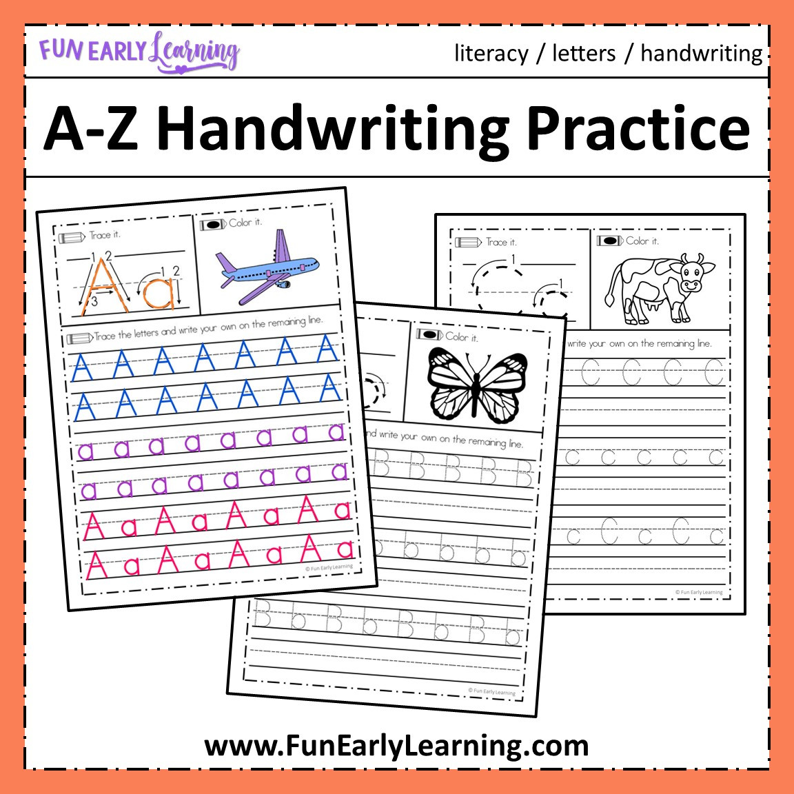 A Fine Fine School Worksheets A Z Handwriting Practice No Prep Worksheets for Learning Letters