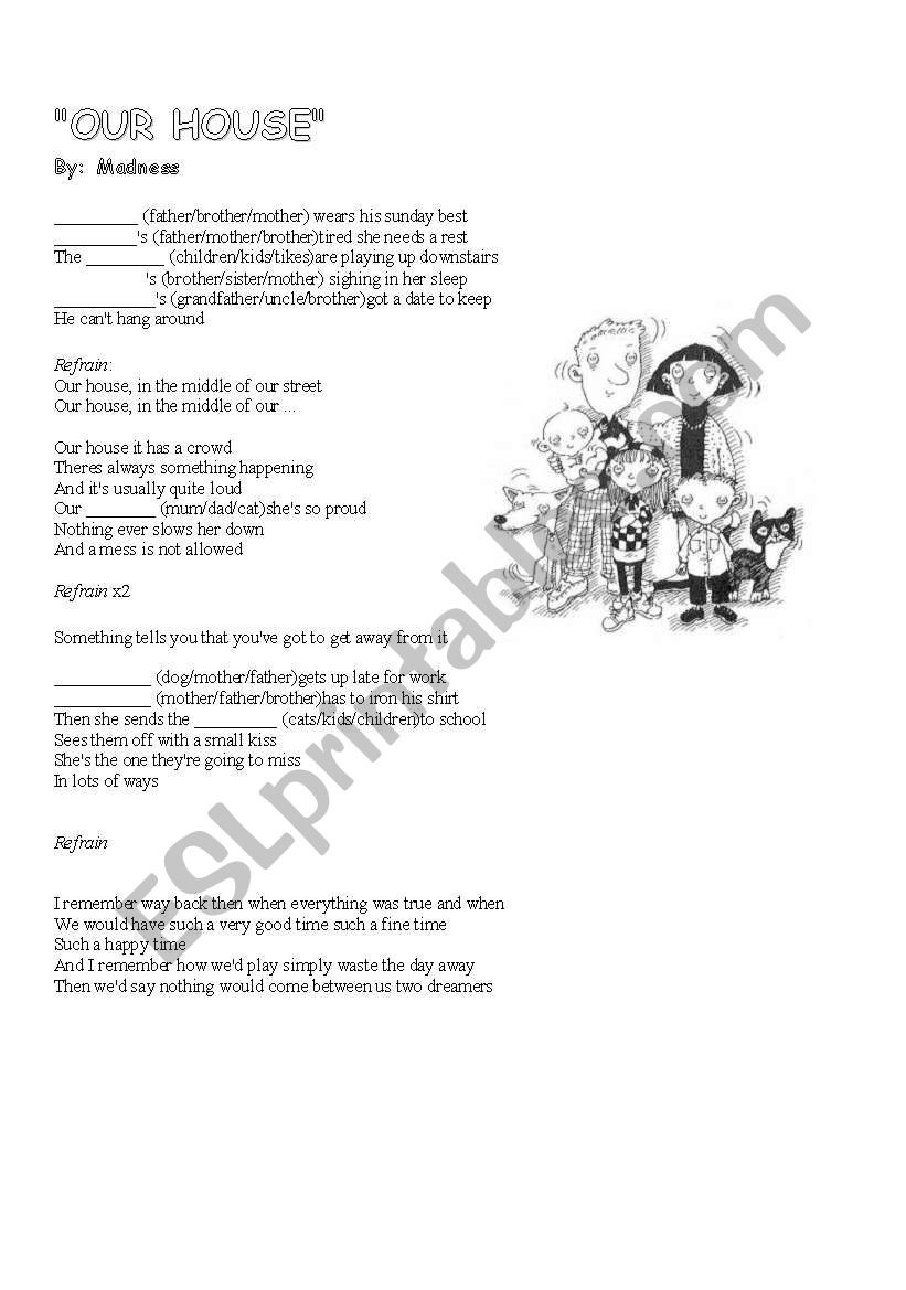 A Fine Fine School Worksheets Our House Esl Worksheet by Krebsad3