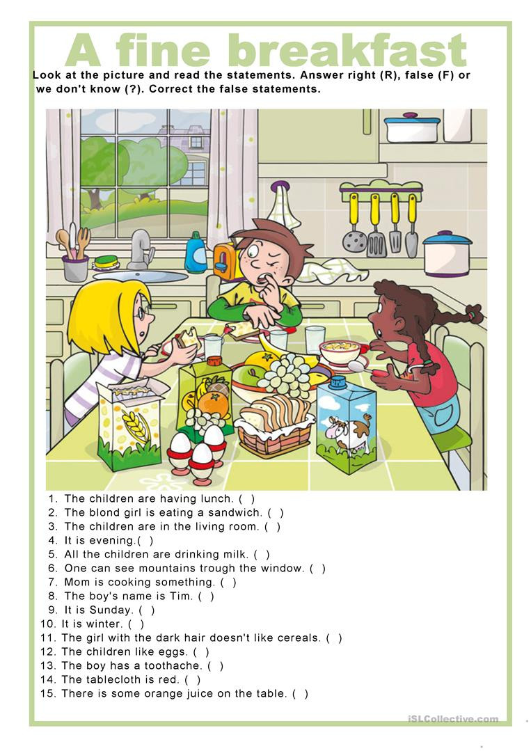 A Fine Fine School Worksheets Picture Description A Fine Breakfast English Esl