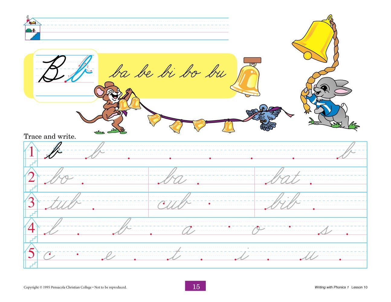 Abeka Math Worksheets Writing with Phonics 1 Cursive