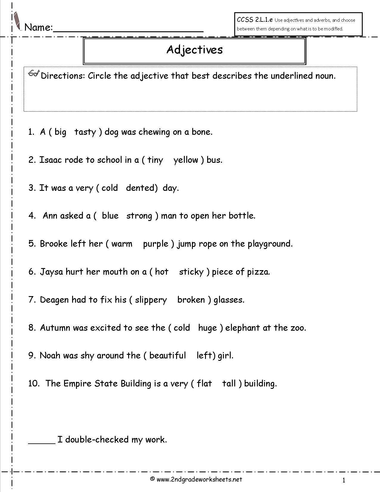 Adjective Worksheets 2nd Grade Adjectives Worksheet