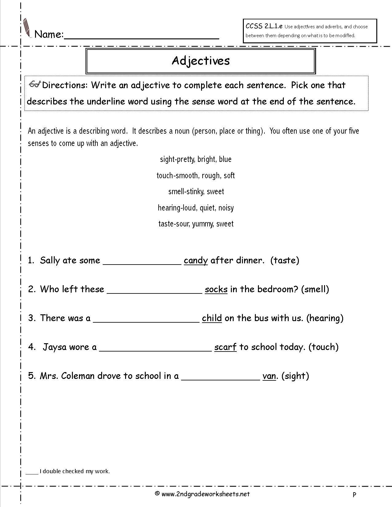 Adjective Worksheets 2nd Grade Binary Math Worksheet Pronoun Worksheets for Grade 2 Free