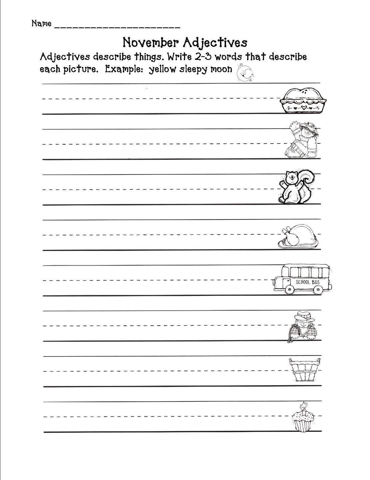 Adjective Worksheets 2nd Grade E More Newbie for My Store