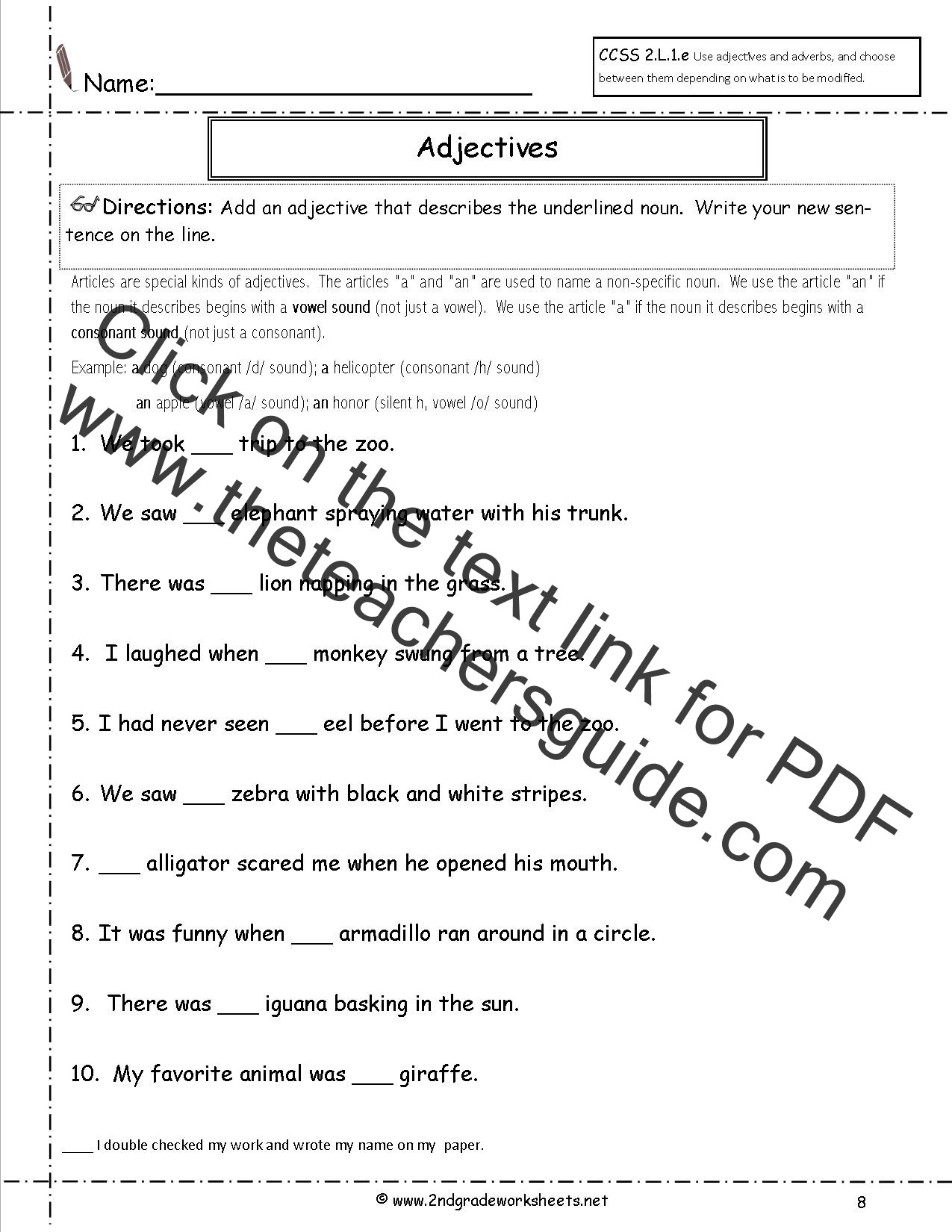 Adjective Worksheets 2nd Grade Free Language Grammar Worksheets and Printouts