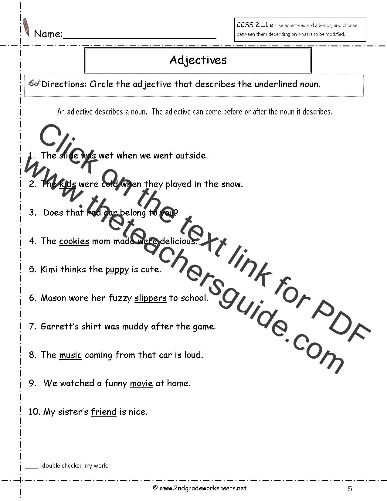 Adjective Worksheets 2nd Grade Free Printable Worksheet Adjectives and Adverbs