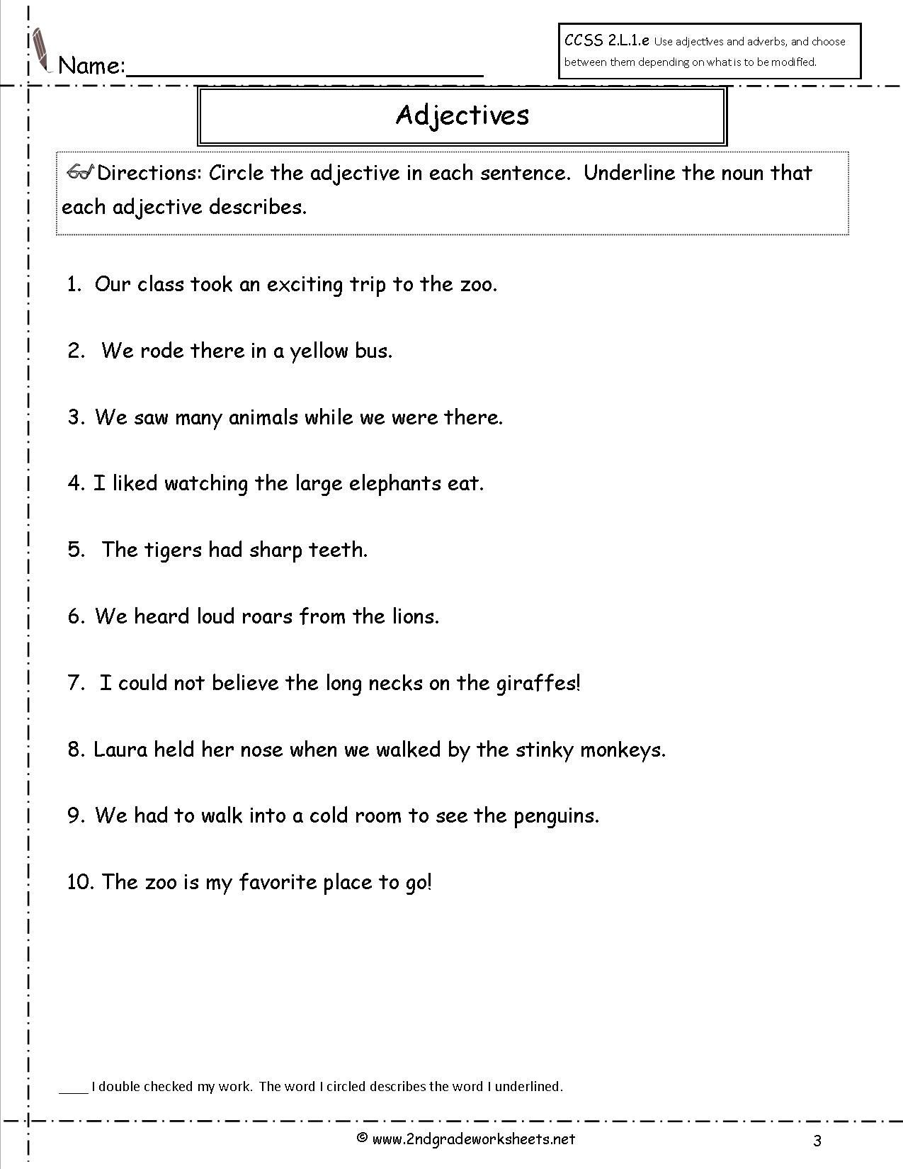 Adjectives Worksheets 3rd Grade Adjective Worksheet