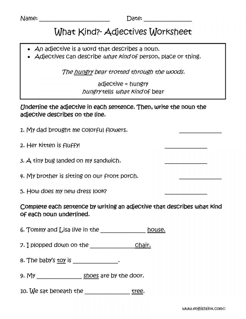 Adjectives Worksheets 3rd Grade Free Adjective Worksheets 4th Grade