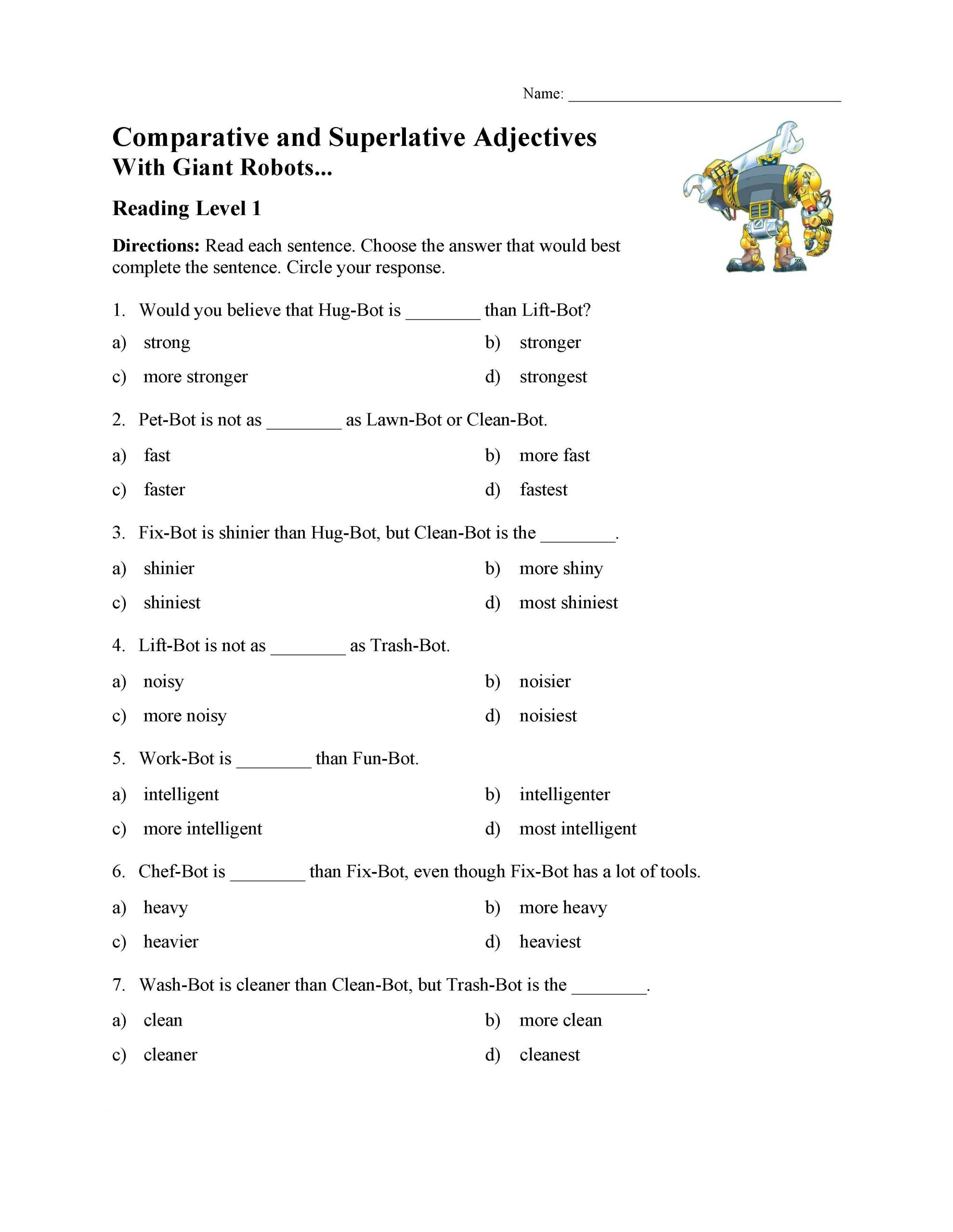 Adjectives Worksheets 3rd Grade Parative and Superlative Adjectives Test with Giant
