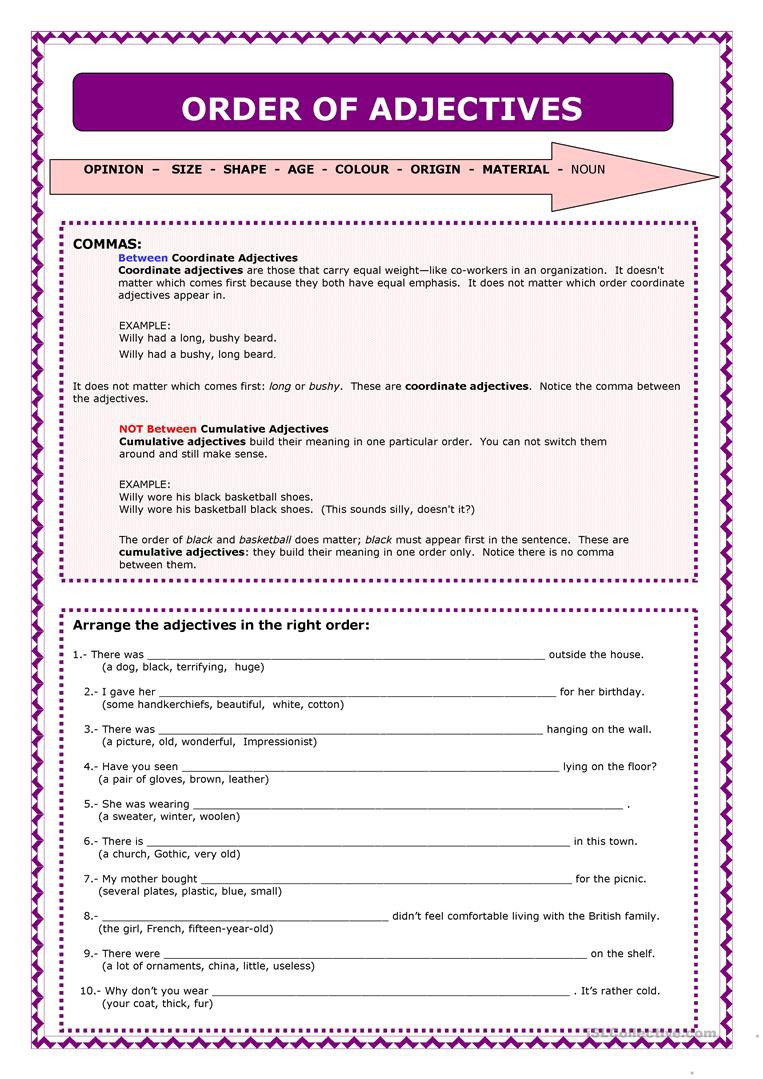 Adjectives Worksheets 3rd Grade Word order Of Adjectives English Esl Worksheets for