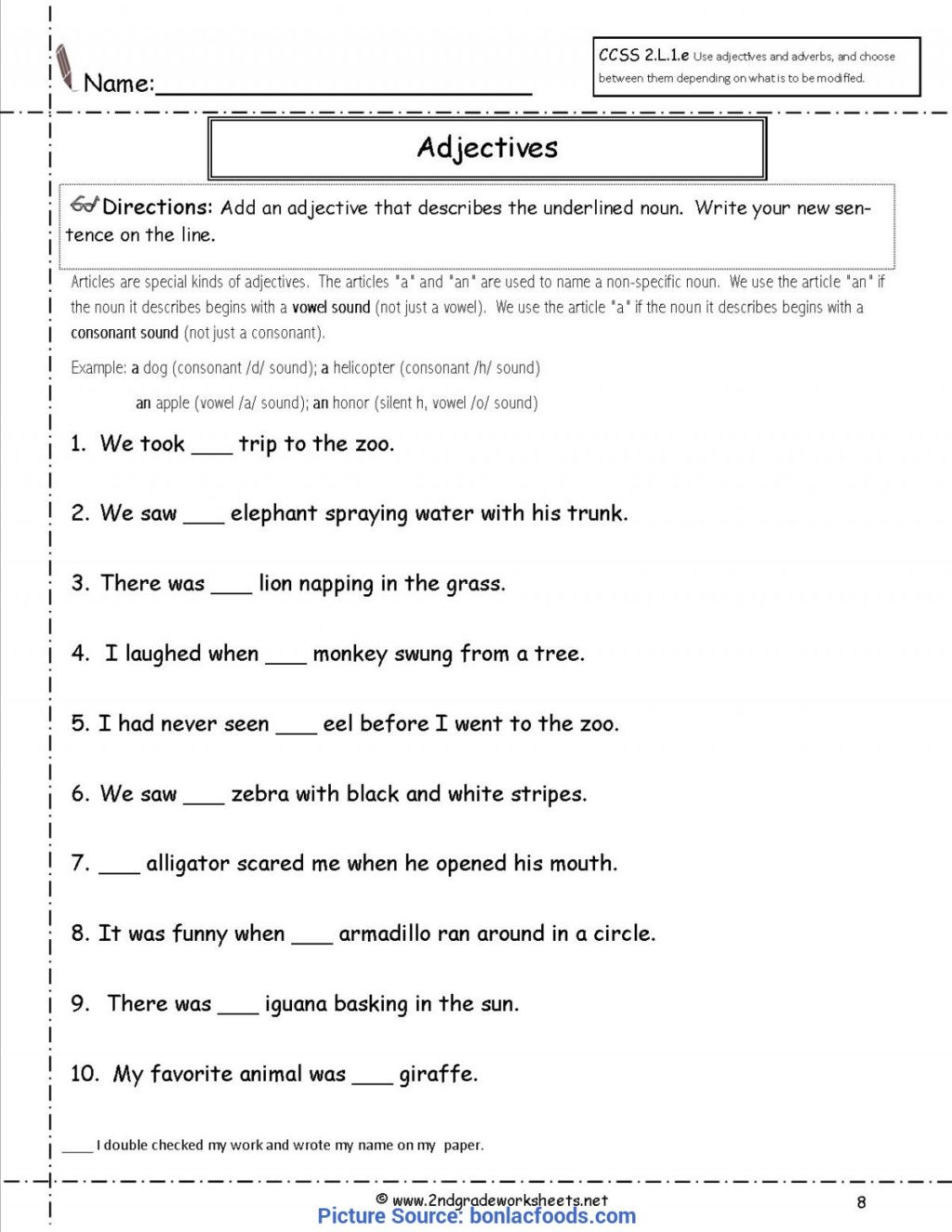 Adjectives Worksheets 3rd Grade Worksheet Valuable 2nd Grade Lesson Plans Adjectives