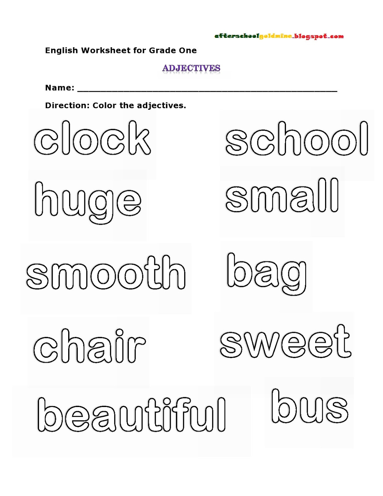 Adjectives Worksheets for Grade 1 Arab Unity School Grade 1 C