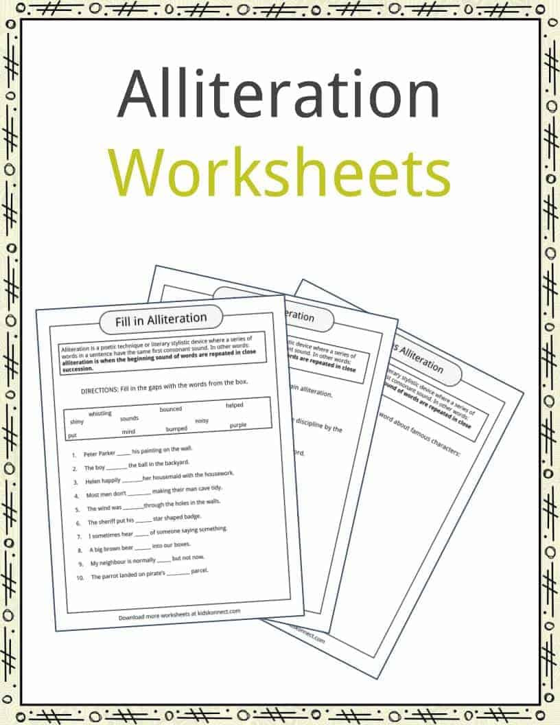 Alliteration Worksheets for Middle School Alliteration Examples Definition & Worksheets