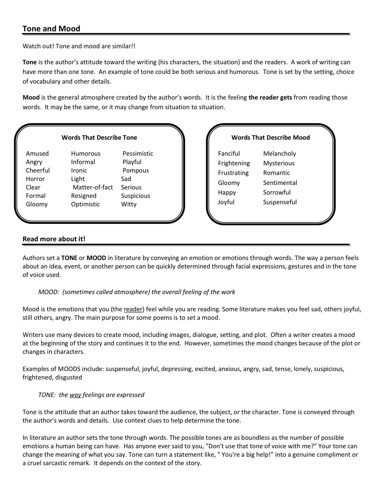 Alliteration Worksheets for Middle School tone and Mood Worksheets Google Search