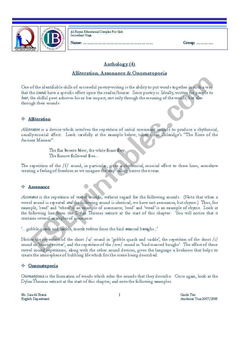 Alliteration Worksheets Middle School Alliteration assonance & Omatopoeia Esl Worksheet by