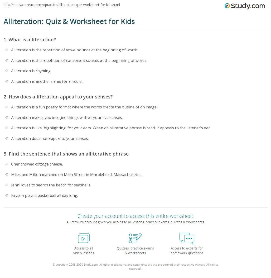 Alliteration Worksheets Middle School Alliteration Quiz & Worksheet for Kids