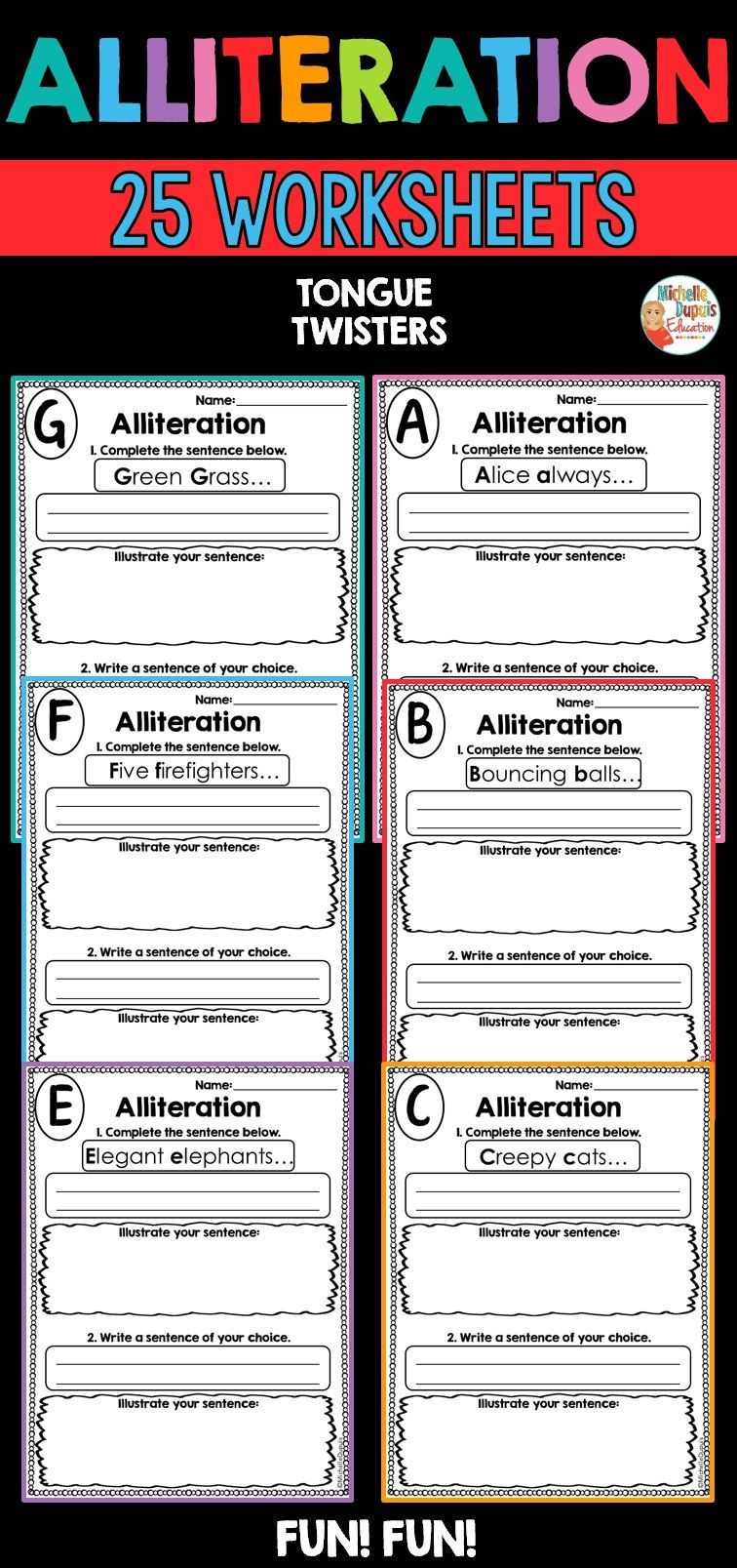 Alliteration Worksheets Middle School Alliteration Worksheets In 2020 with Images