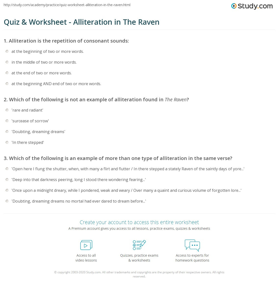 Alliteration Worksheets Middle School Quiz & Worksheet Alliteration In the Raven