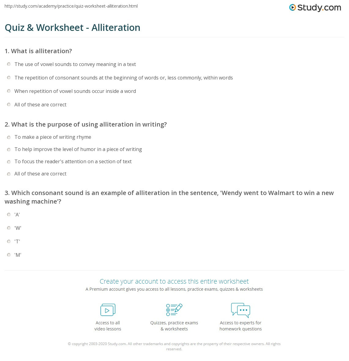 Alliteration Worksheets Middle School Quiz & Worksheet Alliteration