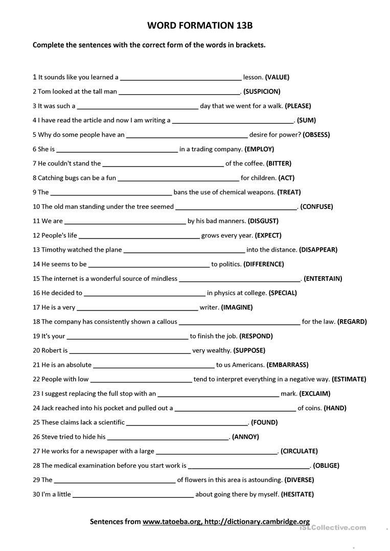Alliteration Worksheets Middle School Word formation 13b