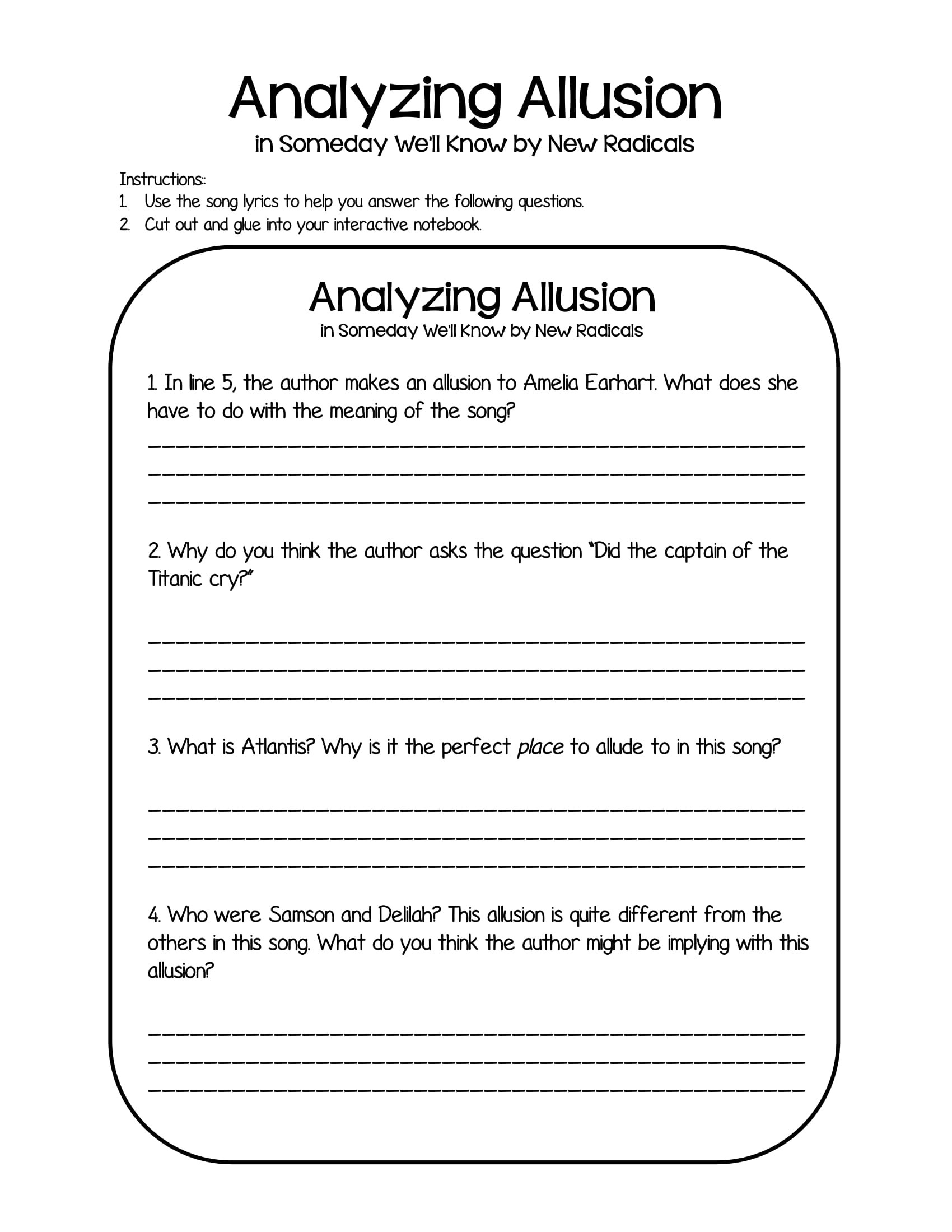 Allusion Worksheet for Middle School 20 Allusion Examples Pdf