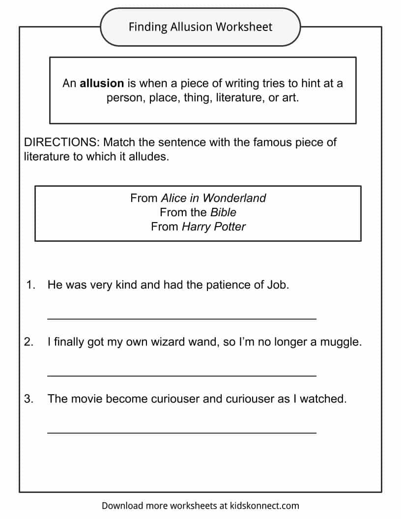 Allusion Worksheet for Middle School Allusion Examples Definition and Worksheets