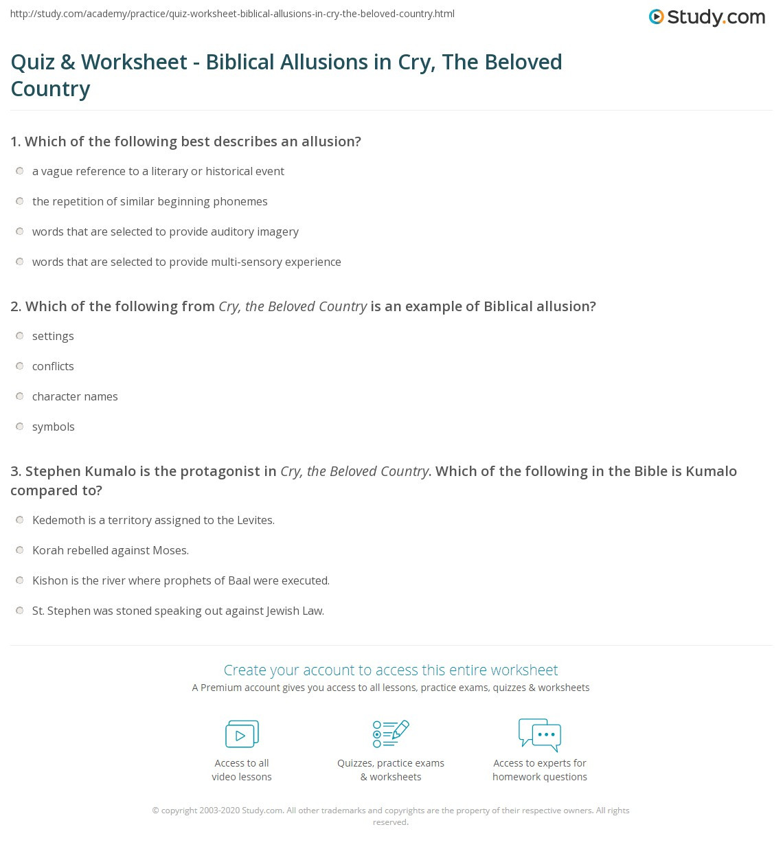 Allusion Worksheet for Middle School Quiz & Worksheet Biblical Allusions In Cry the Beloved