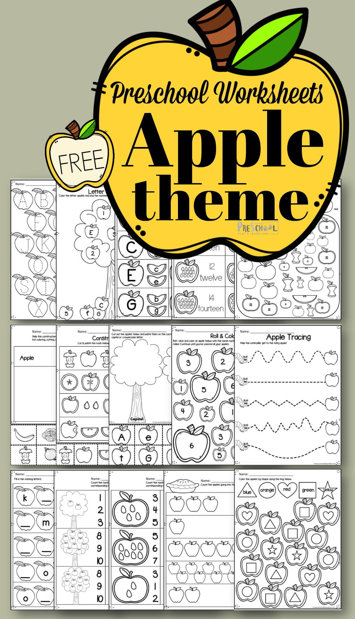 Apple Worksheets Preschool Apple Worksheet Preschool Pack
