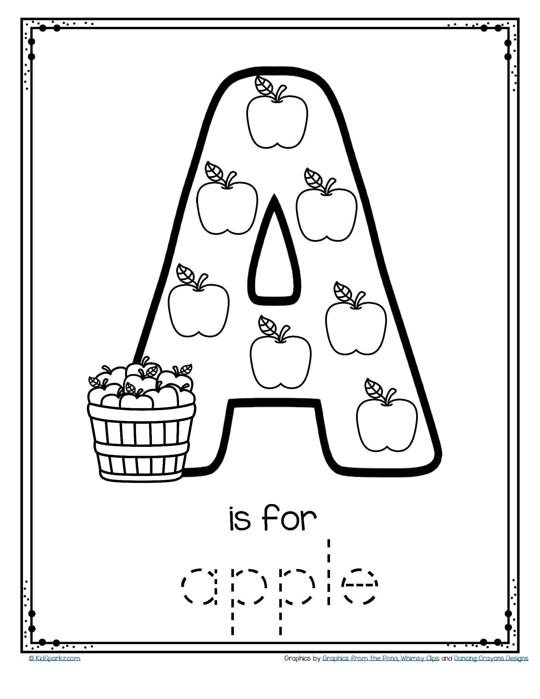 Apple Worksheets Preschool Letter A is for Apple Trace and Color Printable Free