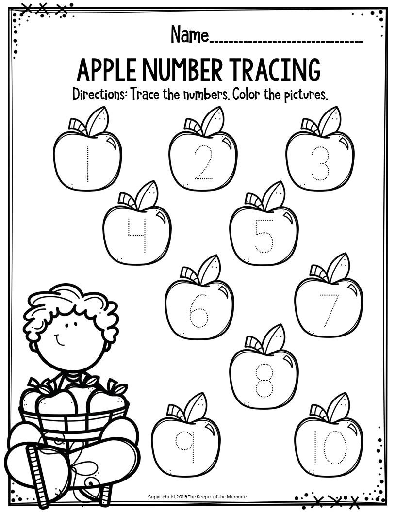 Apple Worksheets Preschool Preschool Worksheets Apple Number Tracing the Keeper Of