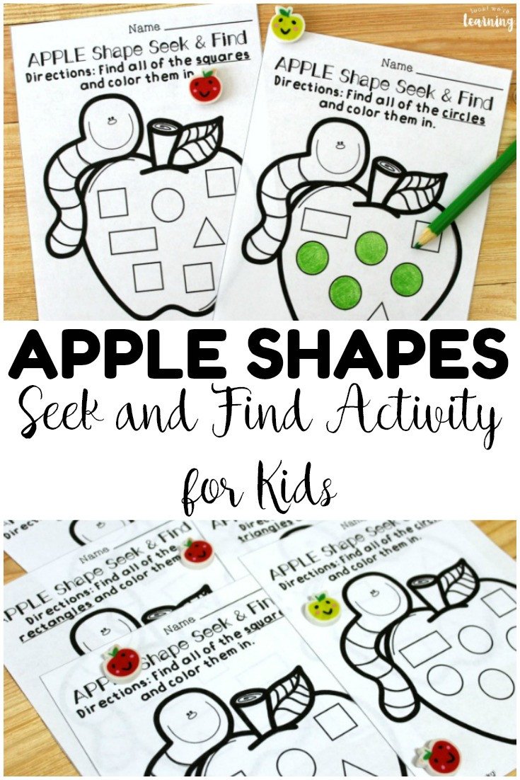Apple Worksheets Preschool Preschool Worksheets Apple Seek and Find Shapes Worksheets