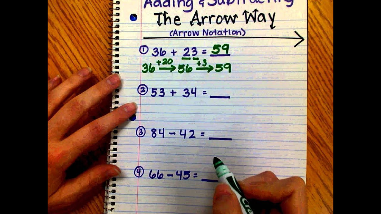 Arrow Way Math Worksheets Adding and Subtracting the Arrow Way