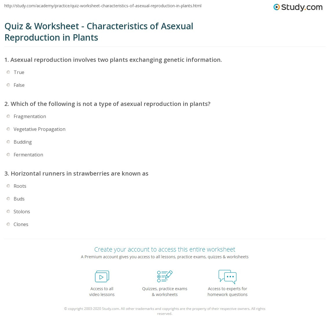 Asexual Reproduction Worksheets Middle School Quiz & Worksheet Characteristics Of A Ual Reproduction