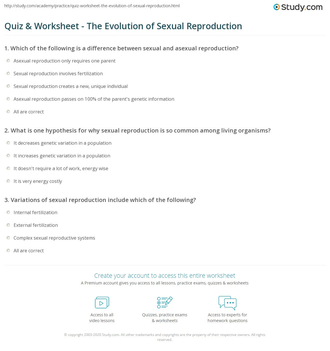 Asexual Reproduction Worksheets Middle School Quiz & Worksheet the Evolution Of Ual Reproduction