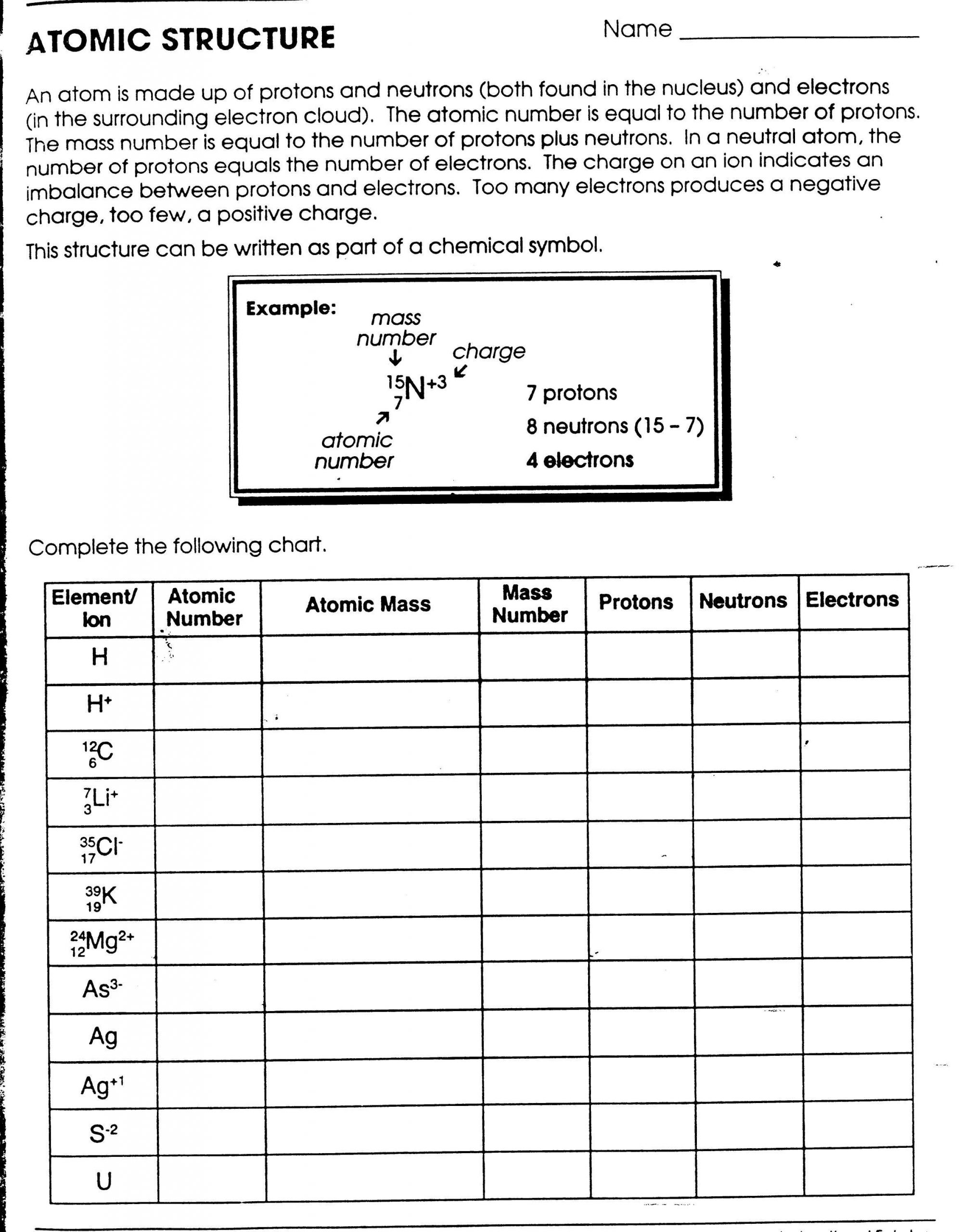 Atom Structure Worksheet Middle School Printables atomic Structure Worksheet Gozoneguide