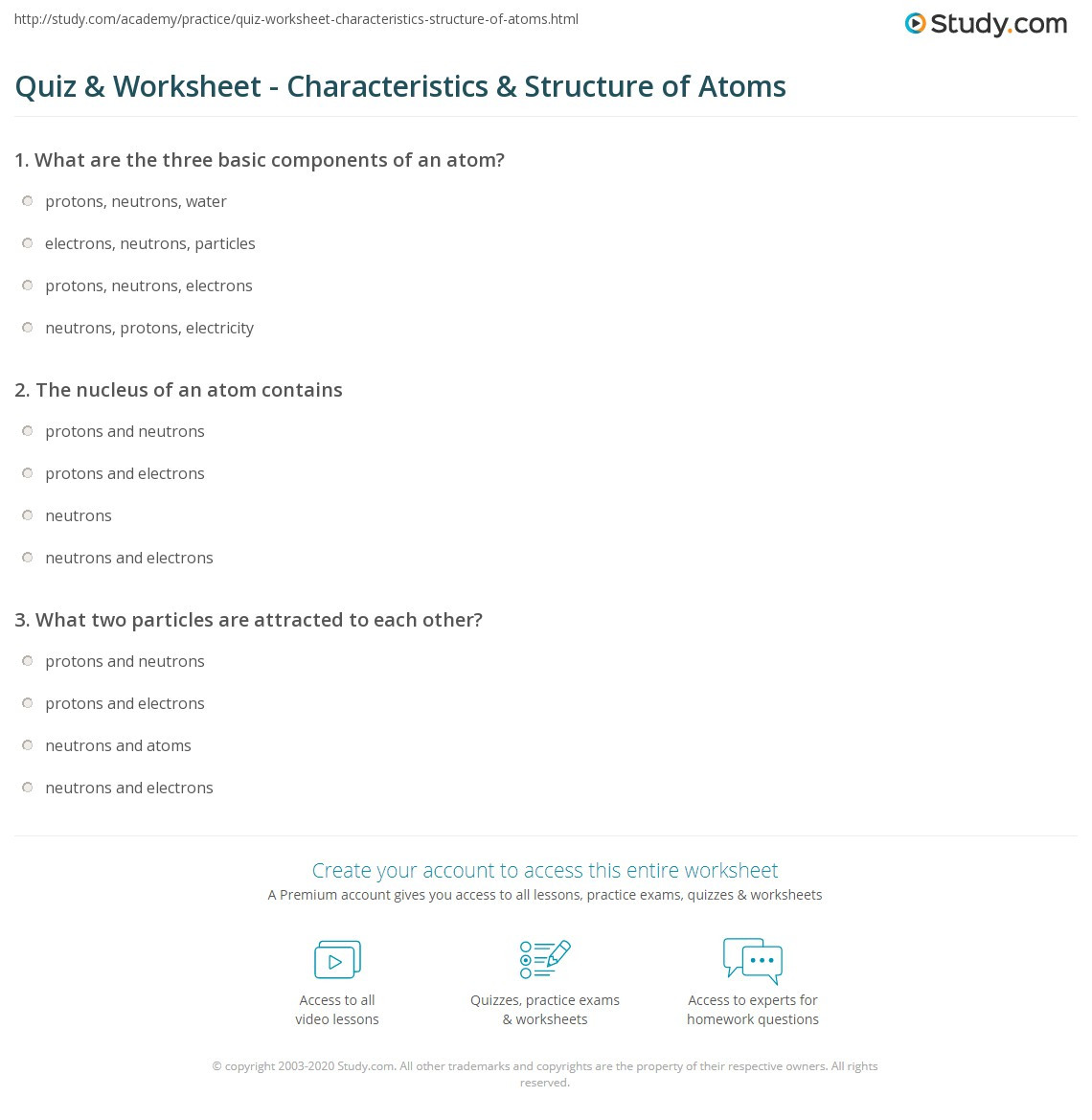 Atom Structure Worksheet Middle School Quiz & Worksheet Characteristics & Structure Of atoms