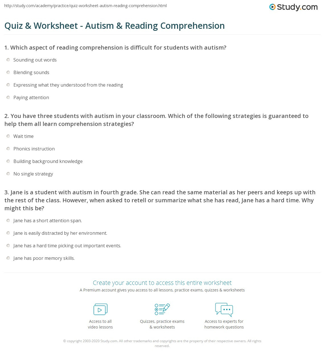 Autism Reading Comprehension Worksheets Quiz & Worksheet Autism & Reading Prehension