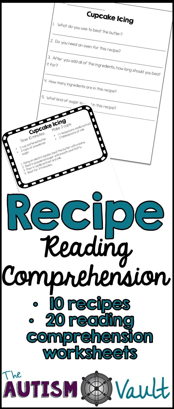 Autism Reading Comprehension Worksheets Recipe Reading Prehension Functional Literacy