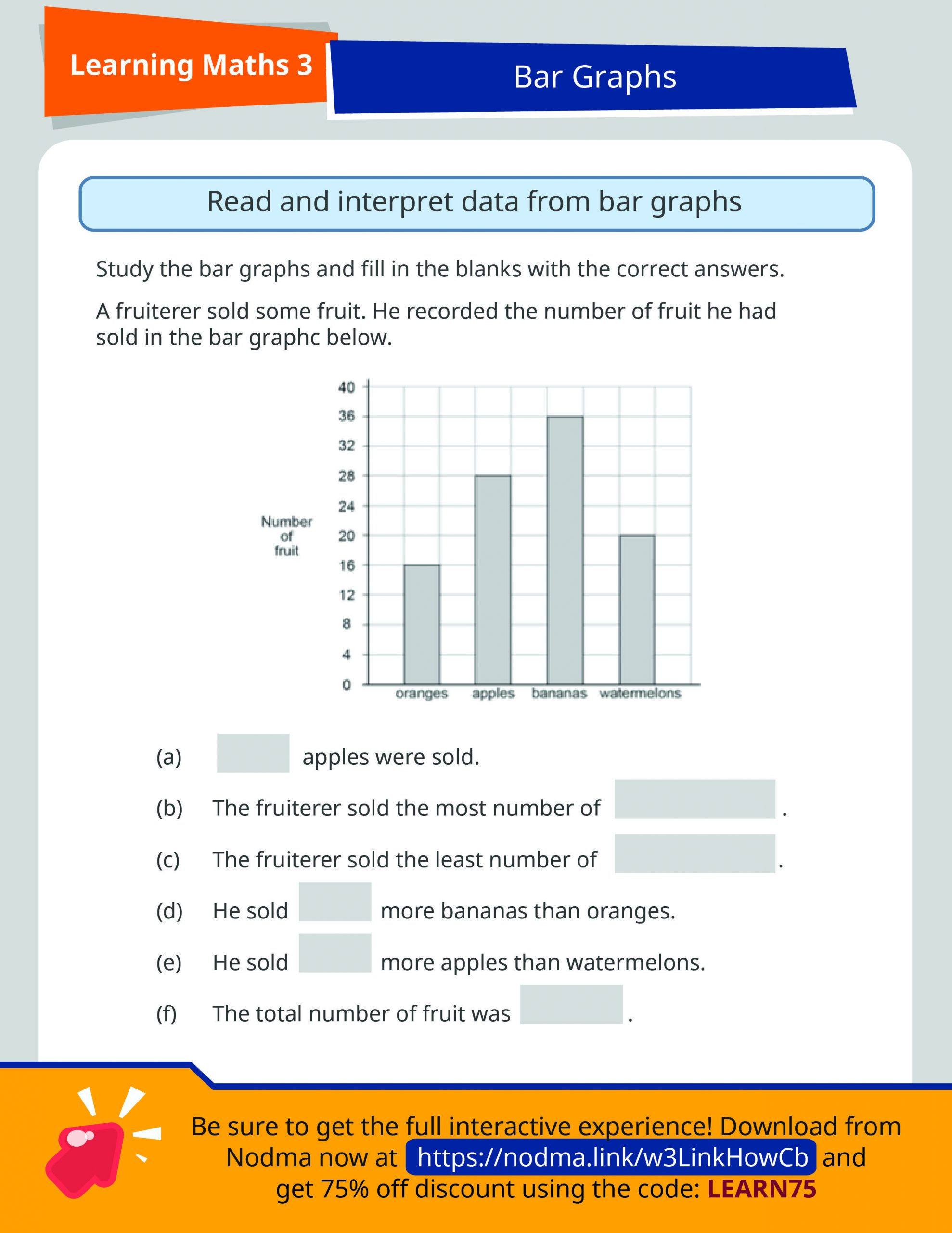 Bar Graph Worksheets Middle School Grade 3 Math Bar Graphs Sap Learning Math 3