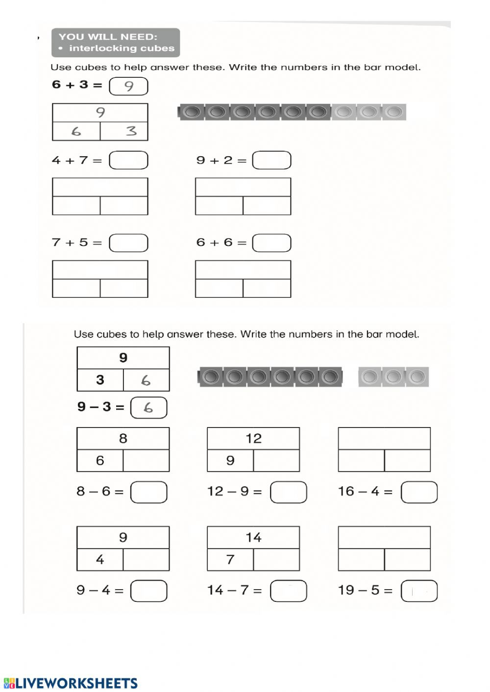 Bar Model Math Worksheets Addition Subtraction Through Bar Model Interactive Worksheet