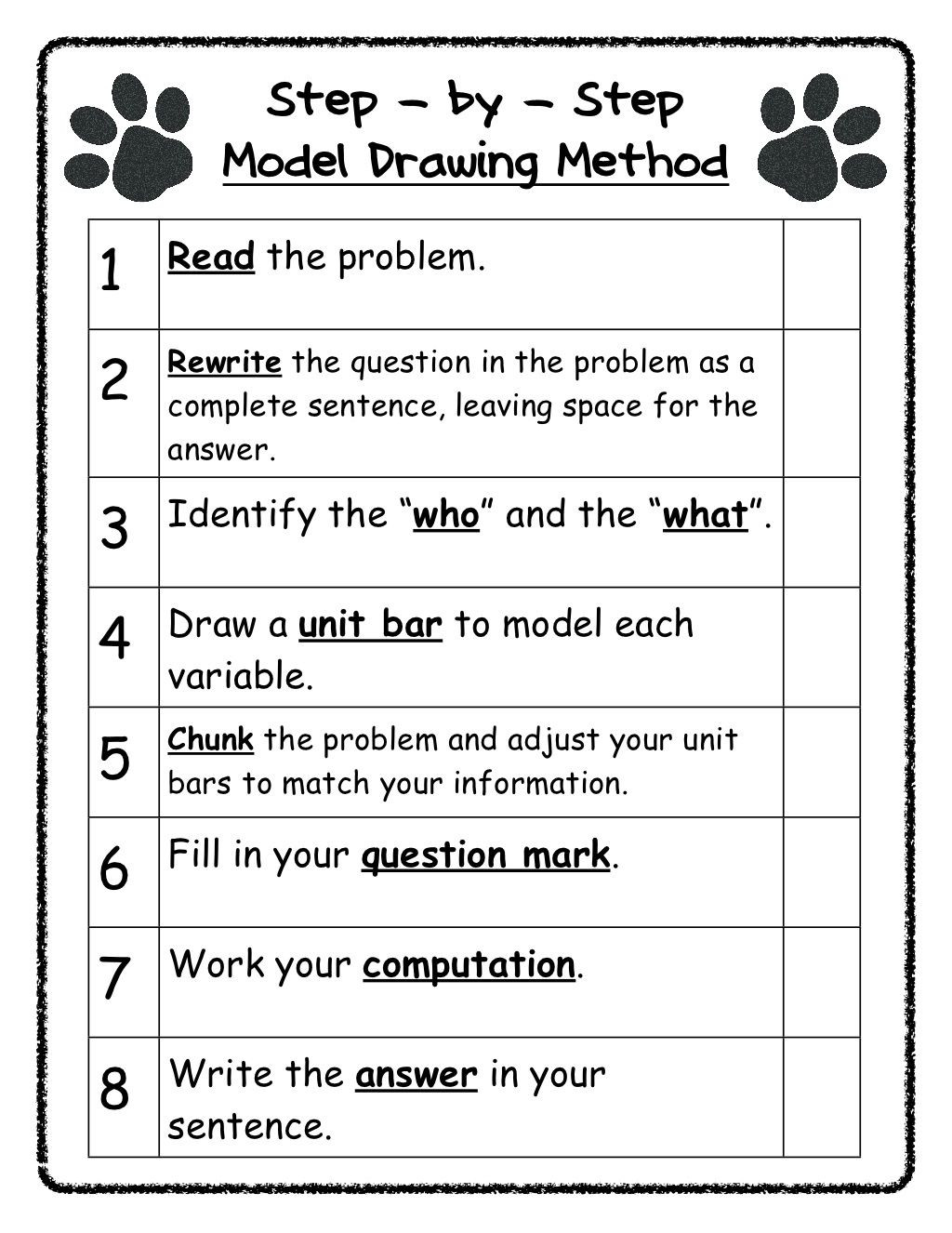 Bar Model Math Worksheets Model Drawing Steps