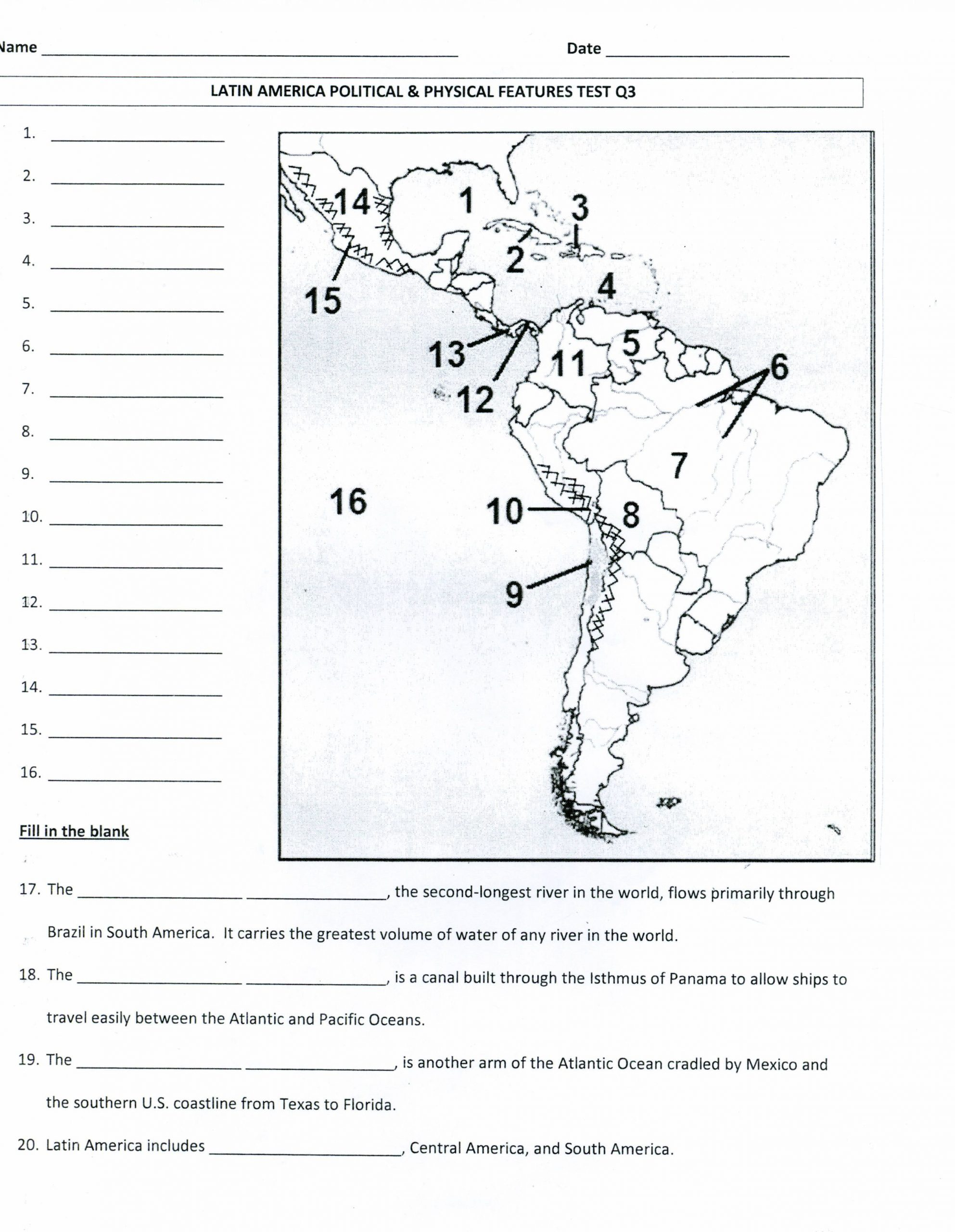 Blank Us Map Quiz Printable Latin America Worksheets