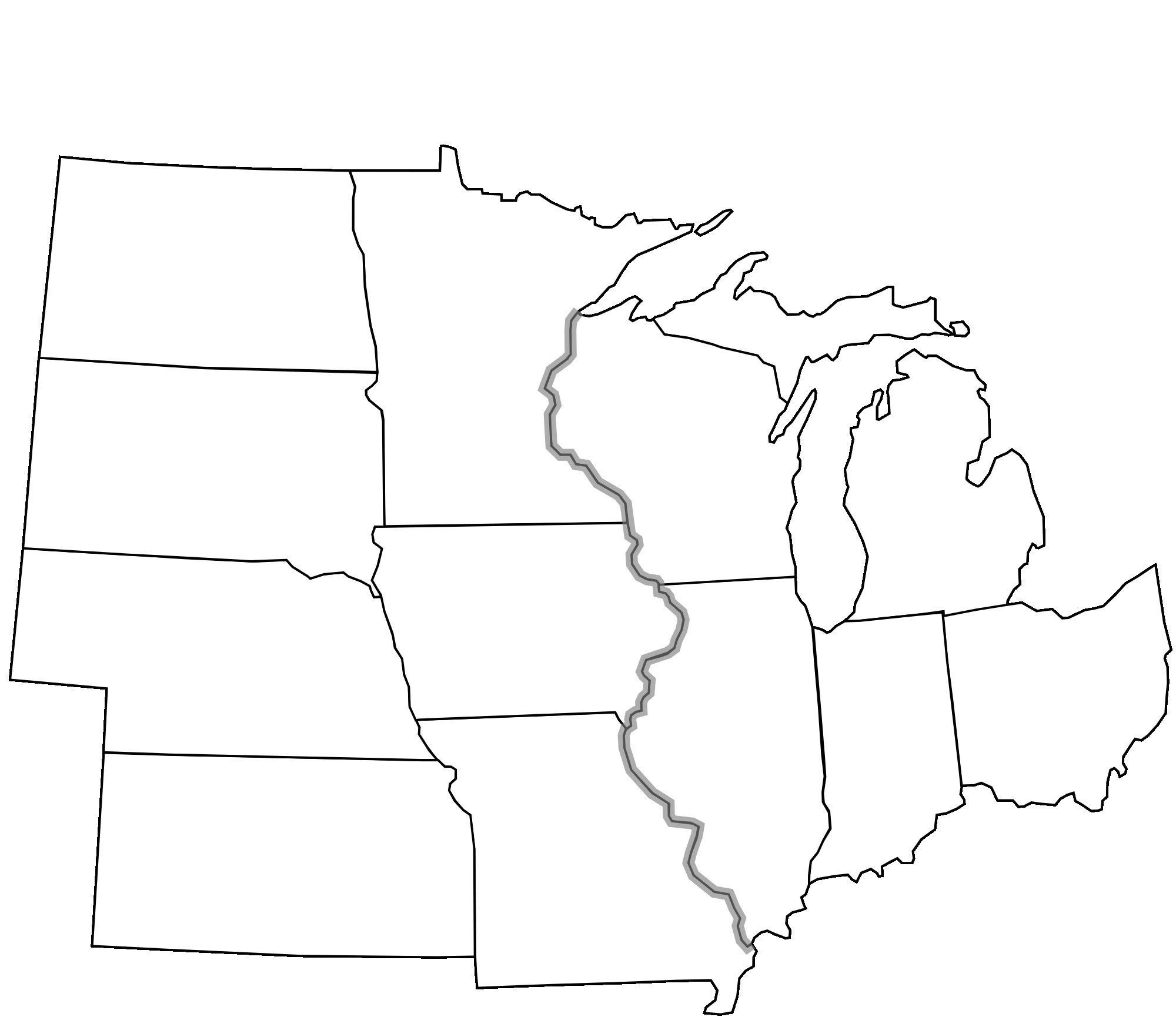 Blank Us Map Quiz Printable Us Midwest Region Map Blank Us Midwest Region Map Blank