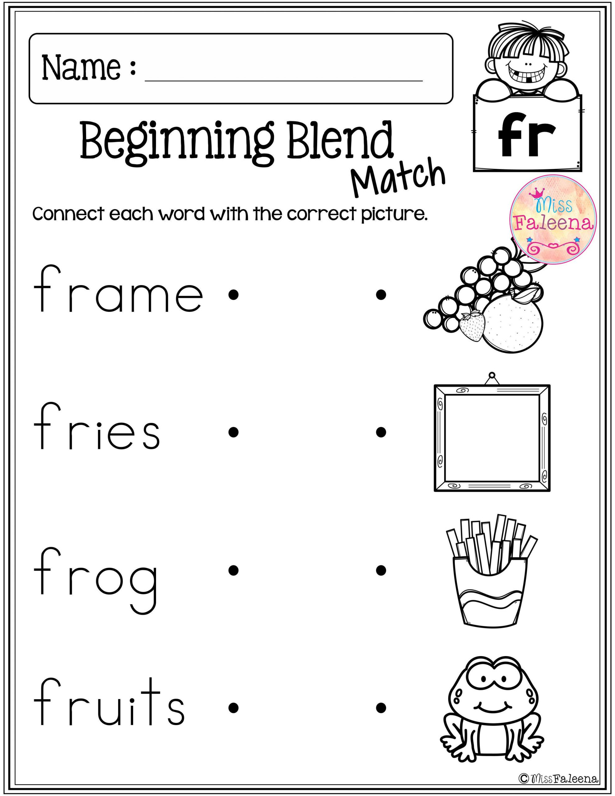 Blends Worksheet for First Grade these are Free Samples From My Beginning and Ending