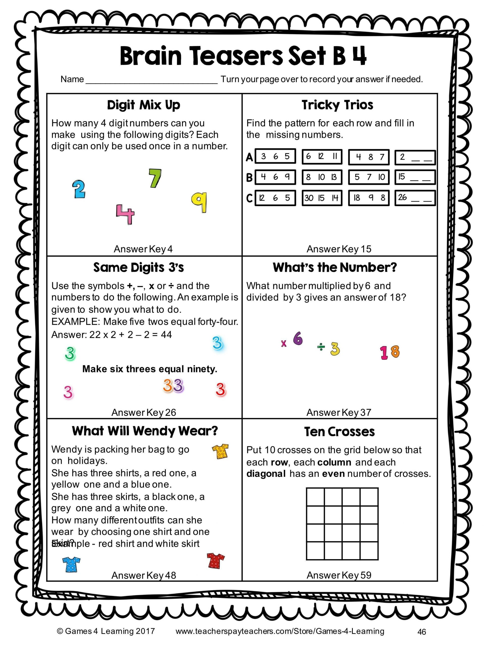 Brain Teaser Worksheets Middle School Brain Teaser Worksheets for Kids