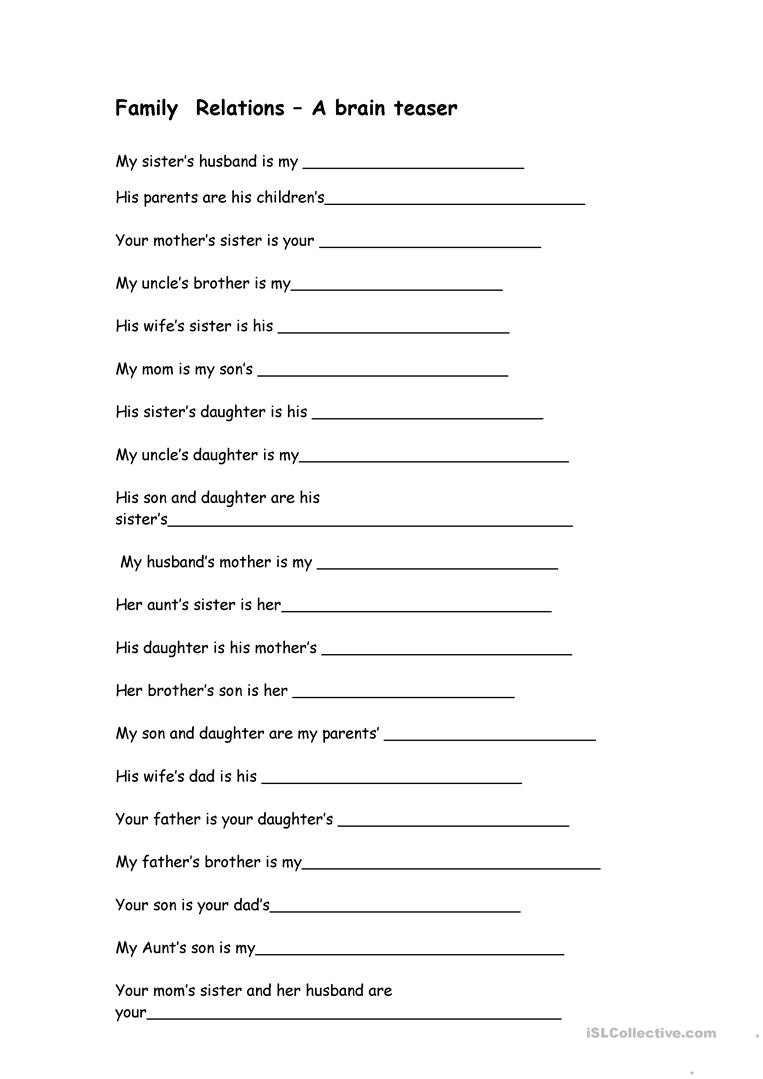 Brain Teaser Worksheets Middle School Family Relations Brain Teaser English Esl Worksheets for Pre