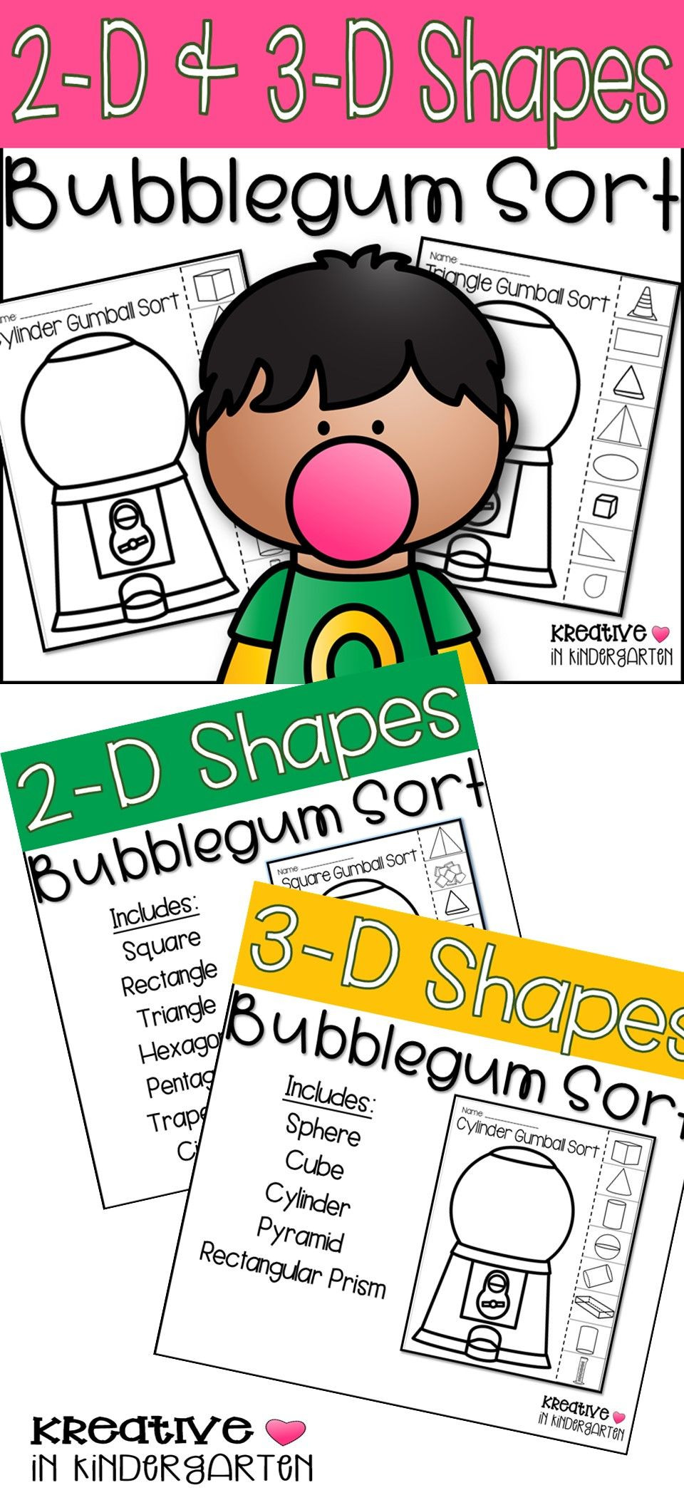 Bubble Gum Math Worksheets 2 D and 3 D Shape Bubblegum sort