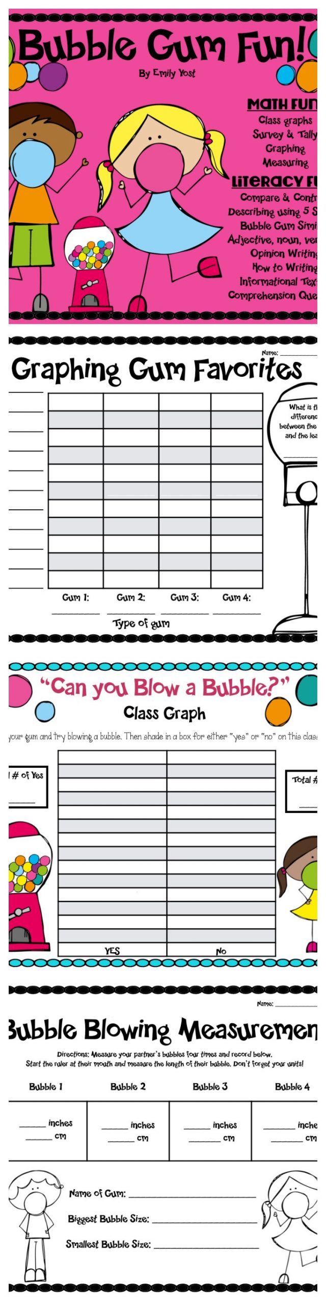 Bubble Gum Math Worksheets Bubble Gum Fun Math Writing & Reading